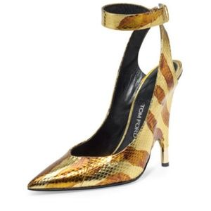 TOM FORD GoldWatersnake Pointy Toe Ankle Wrap Pump
